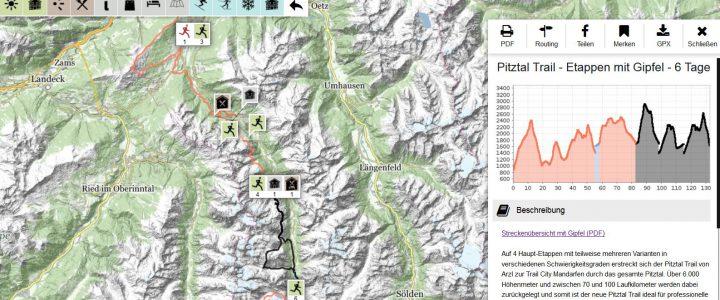 Die Etappen des Pitztal Trails