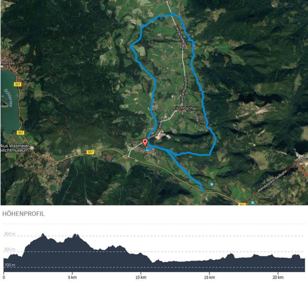 Karte und Höhenmeter der Lauftour rund um Fischbachau