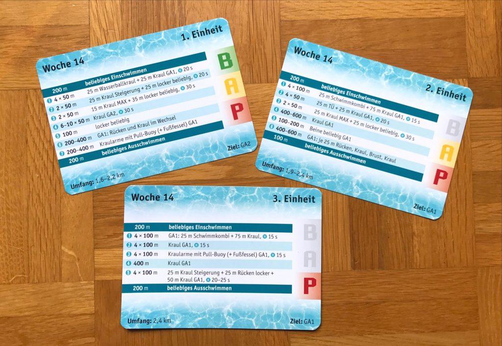 Schwimmtraining to go: Beispielkarten