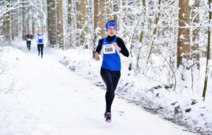 Stefanie beim Winter-Crosslauf.