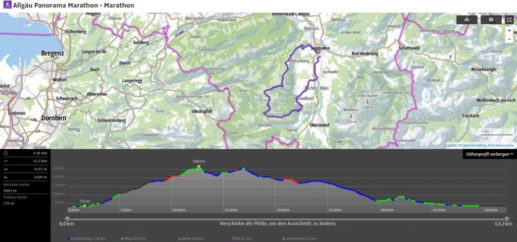 Strecke und Höhenprofil des Allgäu Panorama Marathon