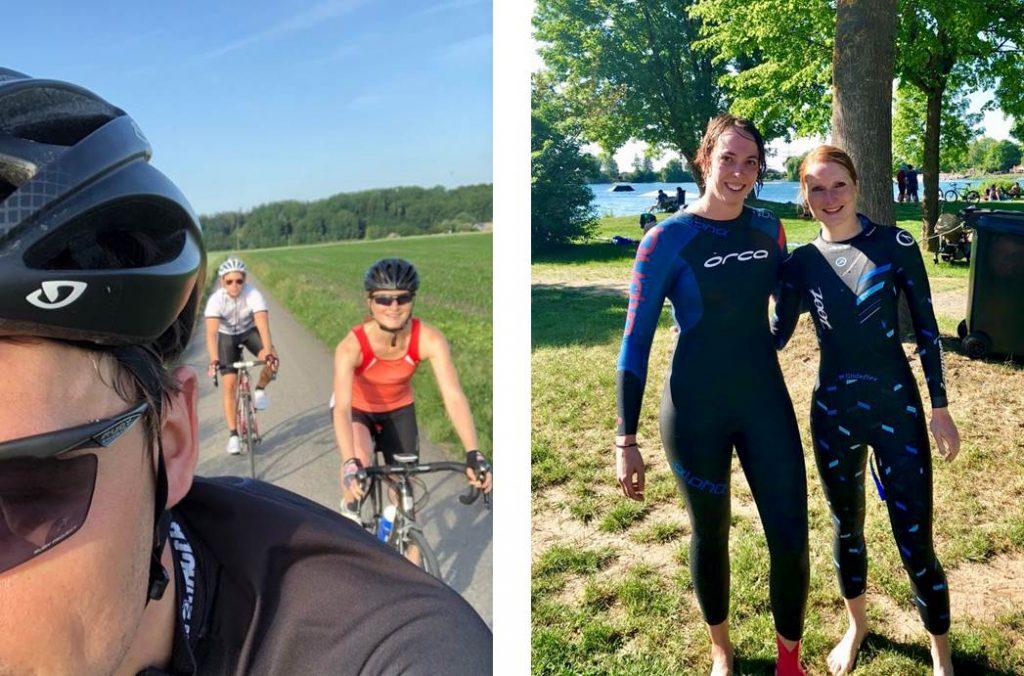 Triathlonvorbereitung auf dem Rad und im See