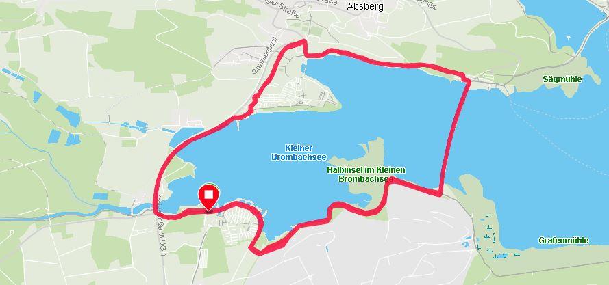 Kleiner Brombachsee: Strecke des XMas Marathon 2018